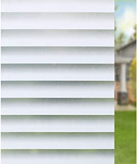 Window Films Privacy, UV Protection White Stripe, Opaque Glass Film,No Glue Window Sticker, for Office Living Room or Kitchen