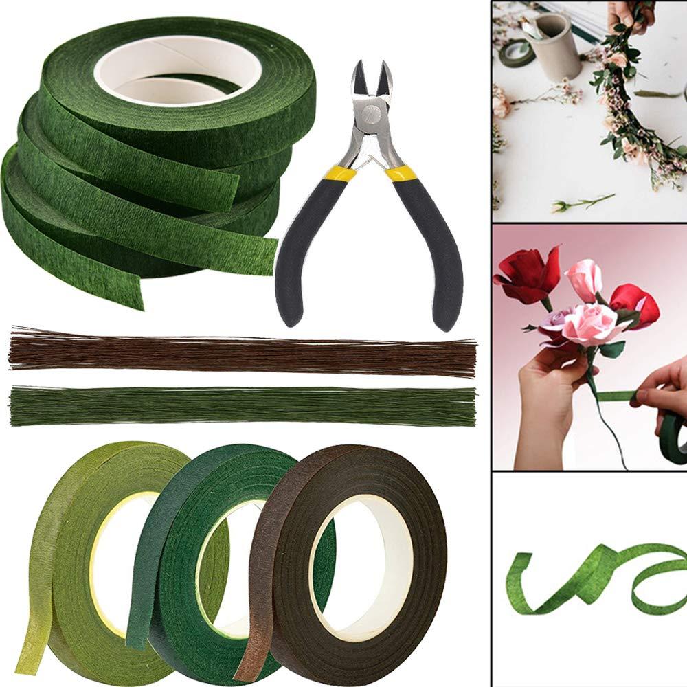 Florist Tape,3 Rolls Dark Green Floral Tape Flower Tape Floral Stem Wrap Tape Bouquet Tape 90 Feet//Roll 3 Pieces Dark Green