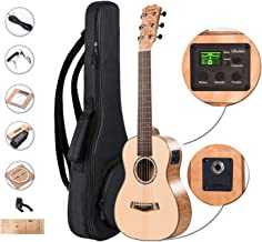 Left Handed - Caramel 6 Strings CB305GL Solid Spruce Top Quilted Maple Acoustic Ukulele Guitalele with Truss Rod with E-A-D-G-B-E Strings, Padded Gig Bag, Strap and EQ cable