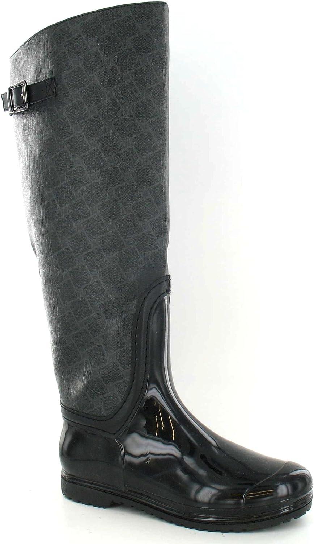 Spot On Womens Ladies Diamond Pattern Fabric Upper Wellington Boots