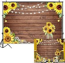 Mocsicka Rustic Sunflower Backdrop Sunflower Bridal Shower Background 7x5ft Vinyl Wood Sunflower Birthday Party Banner Backdrops