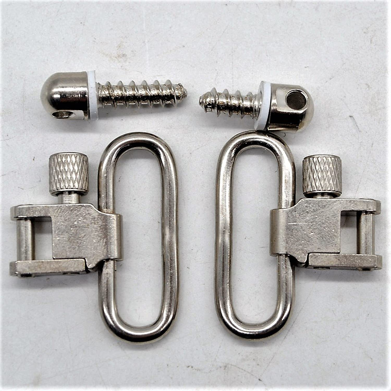 TRIROCK Sling Swivel Nickel Plated 1.25 Inch Silver with Quick Release Sling Mounting Kit Stud Screws