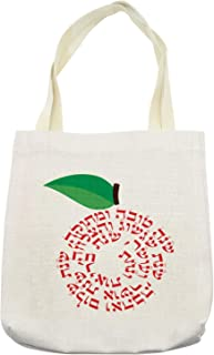 Ambesonne Hebrew Tote Bag, Shana Tova Graphic of Apple with Wishes on Plain Backdrop, Cloth Linen Reusable Bag for Shopping Books Beach and More, 16.5