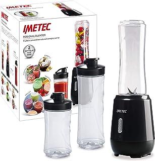 Imetec Personal e Sport Blender PB 100 Mini Frullatore con 2 Bottiglie Take-Away in Tritan e 4 Lame in Acciaio Inox, Plast...