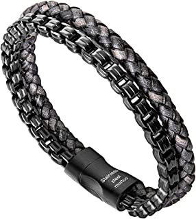 Mens Bracelet Leather and Steel, Stainless Steel Chain...