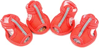 Ranphy Small Dog Sandals Water Resistant Summer Paw Protector Anti-Slip Shoes for Boy Girl Breathable Mesh Dog Shoes Pink S