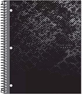 Five Star Spiral Notebook, 1 Subject, 100 Sheets, College Ruled, Graphics, Bitmap Black