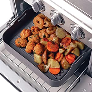 """MoLIDE Silicone Toaster Oven Pan Tray, Reusable Food Safe Premium Silicone Basket for Air Fryer Convection Ovenware Accessories, 10''x8.5""""x2.5'', Easy Cleaning Dishwasher Safe (Charcoal)"""