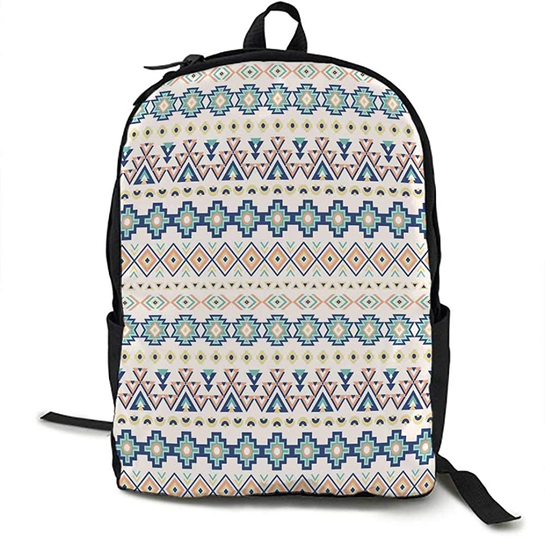 Geometric Unisex classic backpack Tribal Ethnic Native American Pattern with Triangles Squares Rectangles Design Suitable for 16-inch laptops 16.5 x 12.5 x 5.5 Inch Multicolor
