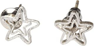 Women's Petite Scratched Silver Plated Double Star Design Stud - .925 Sterling Silver Post Earrings