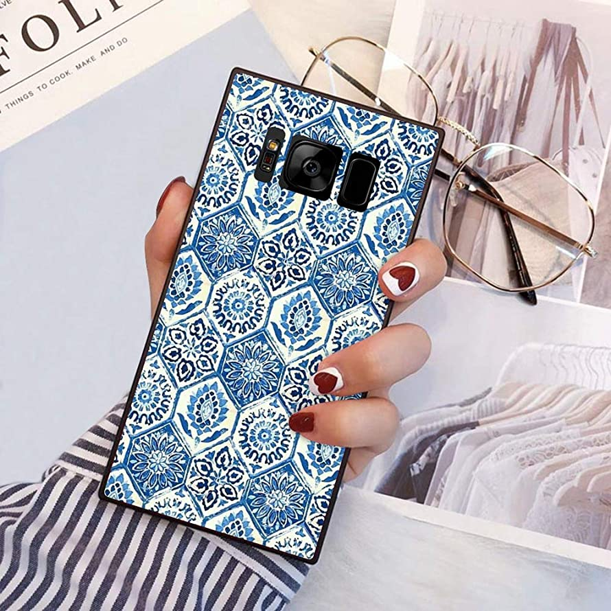 Blue Dye Samsung Galaxy S8 case Protective Square Phone Shockproof Black TPU Silicone case for Samsung Galaxy S8