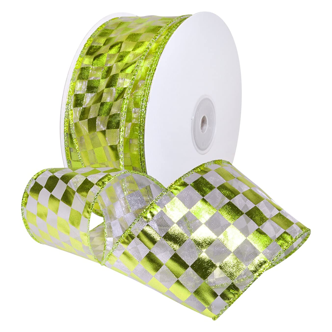 Morex Ribbon Wired Nylon Checkerboard Foil Ribbon, 1-1/2
