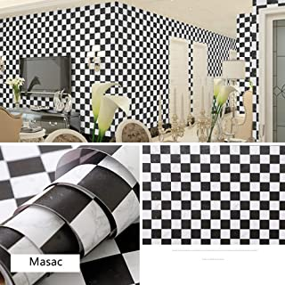 LIFAVOVY Peel and Stick Wallpaper Decorative Contact Paper Black White Checkered Self Adhesive Shelf Liner Paper Roll 17.7
