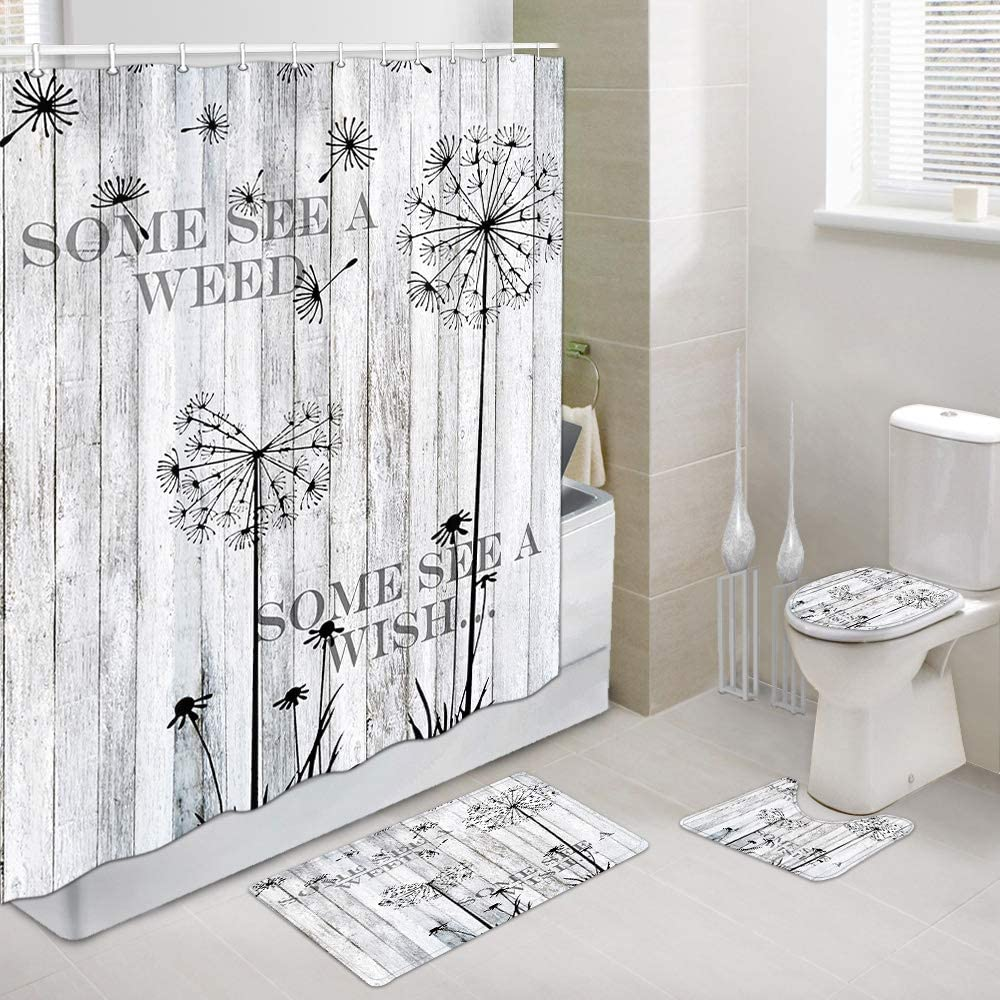 Rustic Gray Wooden Safety and trust Outstanding Barn Wall Art Fabric with Shower Curtain Set
