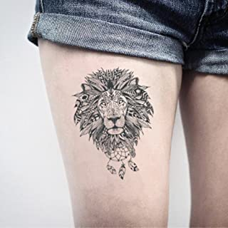 Lion Mandala Temporary Fake Tattoo Sticker (Set of 2) - www.ohmytat.com