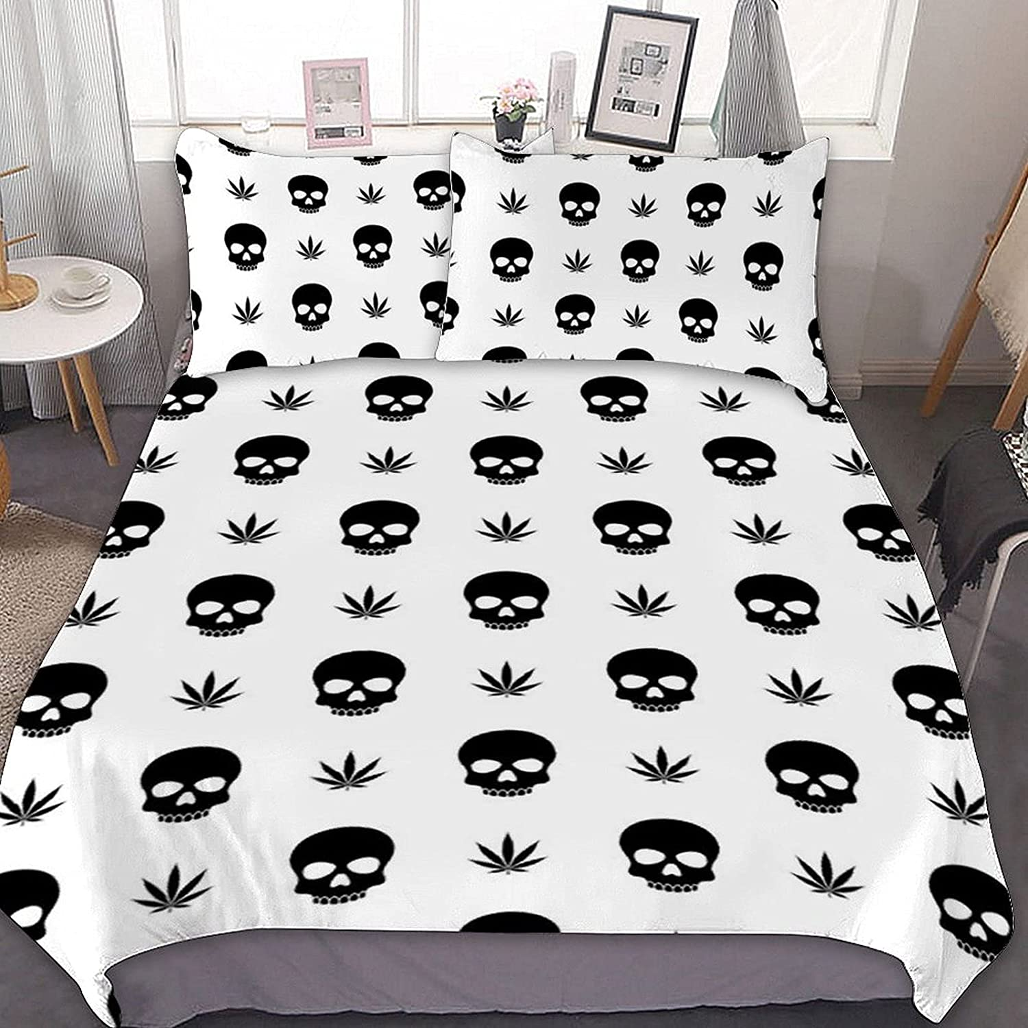 PNNUO 5 ☆ very popular Skull and Weeds Queen OFFicial mail order Bed Twin Size Comforte Full King Set
