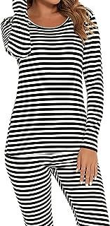 CzDolay Fleece Lined Stripe Thermal Underwear Set Long Johns Base Layer Base Layer Skiing Winter Warm Top & Bottom