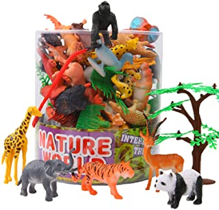 ValeforToy Animals Figure,54 Piece Mini Jungle Animals Toys Set with Gift Box, Realistic Wild Animal Learning Party Favors...