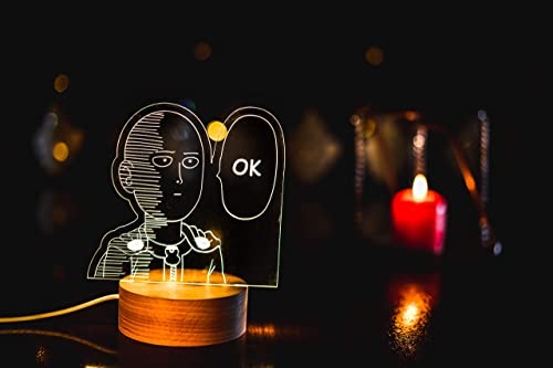 new arrival One Punch Man, Genos, Saitama, Anime Character Led Light, Wooden Base and discount Acrylic Plate with Laser Engraving, 3D Custom LED Lamp, 16 Colors with 2021 Remote (Saitama) outlet online sale