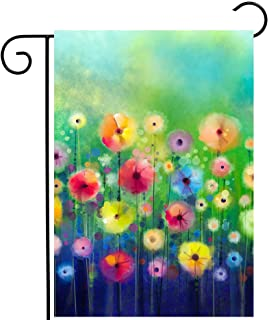 """ShineSnow Watercolor Abstract Spring Summer Seasonal Green Floral Flowers Painting Art Garden Yard Flag 12""""x 18"""" Double Si..."""