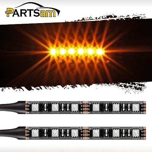 Partsam LED Strip Light Bar 2X 6 LED Black Third Brake Light Motorcycle Turn Signal Backup License Plate Universal Amber Lights Strip