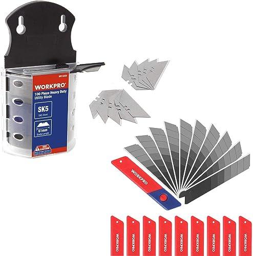 popular WORKPRO Utility Knife Blades Dispenser SK5 Steel 100-pack & sale WORKPRO 18mm Snap-off Blades 100-Pack, Quality SK5 Steel Razor discount Sharp Blade online
