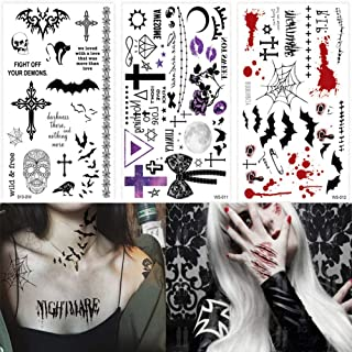 BlueSpace Halloween Temporary Tattoos Body Tattoo Stickers 3 Sheets Fake Scars Spider Bat Wound Blood Waterproof Tattoos for Women Men Cosplay Halloween Party