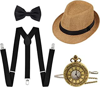 Ziyoot 1920s Accessories Men's Gatsby Gangster Costume Men Roaring 1920s Set Panama Y-Back Suspenders Bow Tie