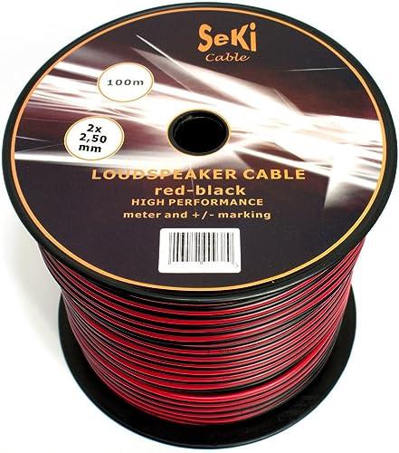 Câble d'enceinte 2 x 2,50 mm² - 100 m - Rouge/noir - CCA - Câble audio - Câble d'enceinte