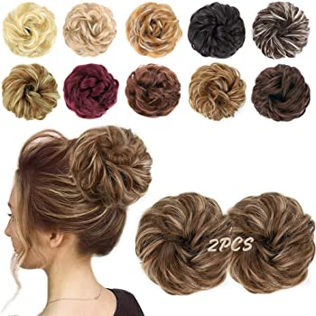 MORICA 2PCS Messy Hair Bun Extensions Curly Wavy Messy Synthetic Chignon Hairpiece Scrunchie Scrunchy Updo Hairpiece for women