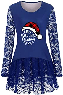 Holzkary Merry Christmas Pullover Women Print Sweatshirt Casual Lace Patchwork Tops Blouses