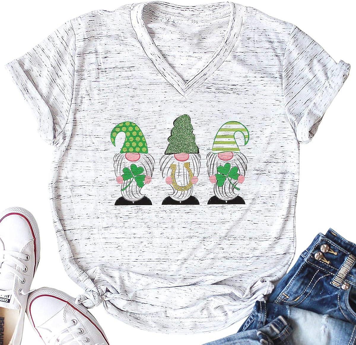 VILOVE St. Patrick's Day Shirt mart Print Shamrock Graphic Gnome Ranking TOP7 T-Sh