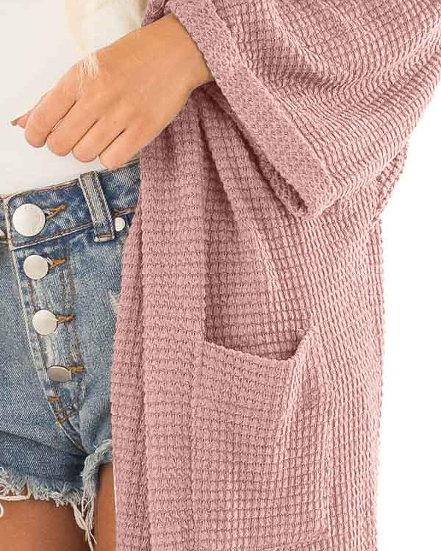 YOINS Strickjacke Damen Herbst Winter Strickmantel Elegante Sweatshirt Kimono Strickpullover Langen Casual Sweater Cardigan Jacke Tops Outwear Pullover Pink