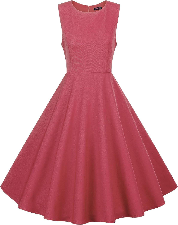 Eliacher Women Summer Sleeveless Dresses Swing Dress Pockets