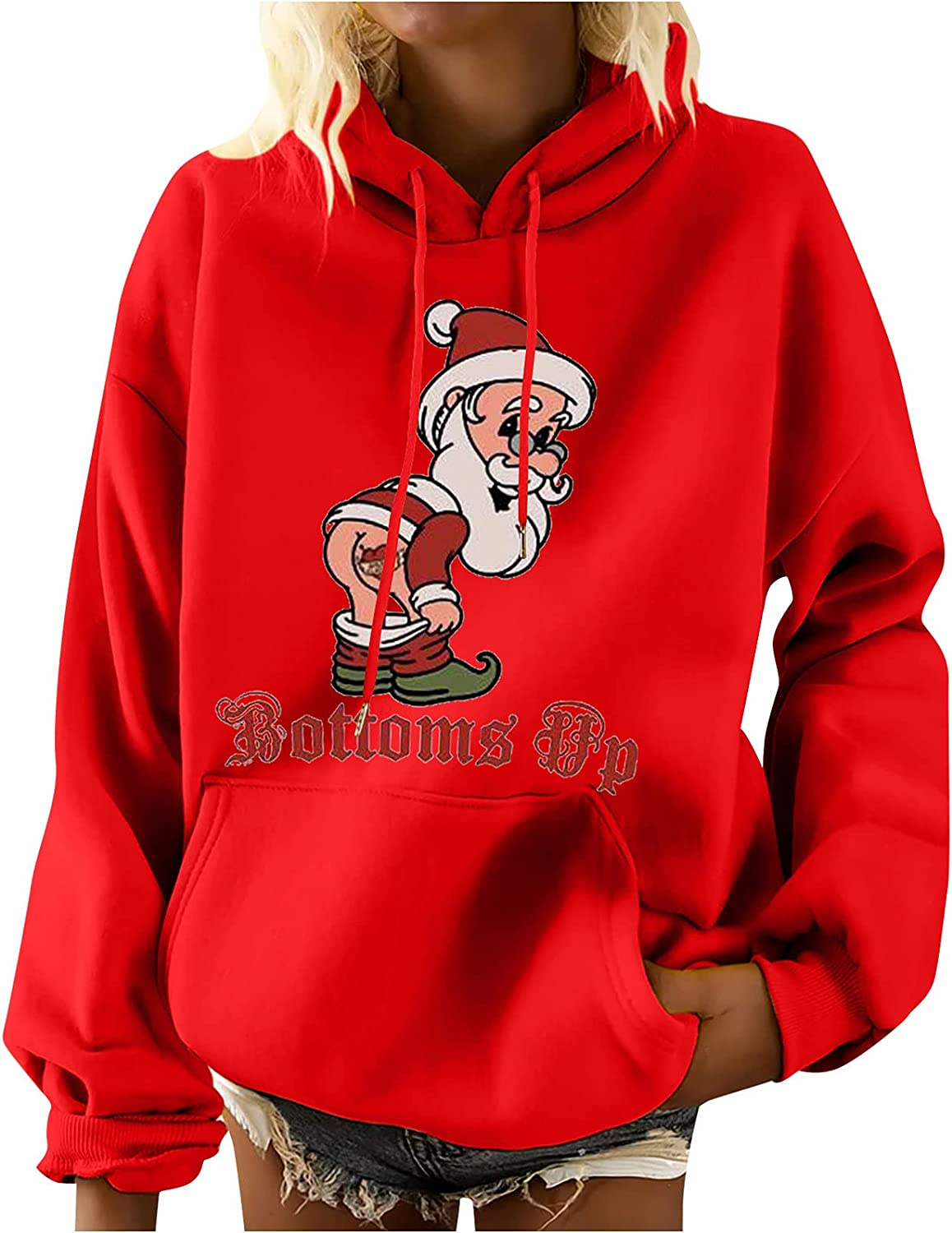 Christmas Sweatshirts for Women Buttoms Up Letter Santa Claus Print Shirt Casual Crewneck Long Sleeve Pullover Top