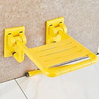 WSSF- シャワーチェア バスルームトイレ妊娠中の女性シャワーチェア靴を変えるスツールウォール高齢者が使用不可能な安全性ノンスリップ折りたたみ式水着スツール、イエロー-34.5 * 39 * 20cm