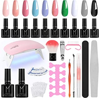 Winload Kit Uñas Semipermanentes 10 Colores Esmalte Semipermanente en Gel 10ml Lámpara UV LED para Uñas 6W Soak Off Bas...