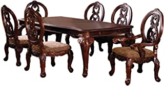 Furniture of America Victoire 7-Piece French Style Formal Dining Table Set with 20-Inch Expandable Leaf, Antique Cherry