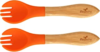 """Avanchy Bamboo Forks - Bamboo and Silicone Toddler Fork - Toddler Training Fork - BPA Free Forks - 5.5"""" L x 1.25"""" W (Orange)"""