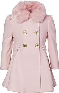 CREMSON Girls' Wool Look Princess Winter Dress Pea Coat Jacket Faux Fur Collar