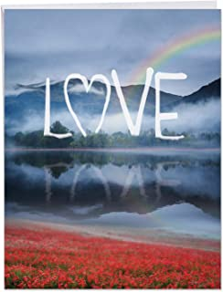Anniversary Card 'Wordscapes Love' with Envelope 8.5 x 11 Inch - Love Anniversary Card with Dreamy Blue Mountain and Crystal Clear Lake - Big Anniv Stationery Gift J6581FANG