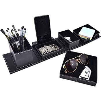 Leather Office Supplies Desk Organizers And Accessories,Desktop Storage For Stationery/Card/Pen/Pencil/Mobile Phone (Black)