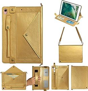 iPad 11 Pro 2018ケース、TABCase PUレザーショルダーバッグ磁気ブラケット、カードスロット付き多機能フラットケース/ペンシルケース/財布ファイル分割ポケット付き手、に適しています iPad Pro 11 2018,ゴールド