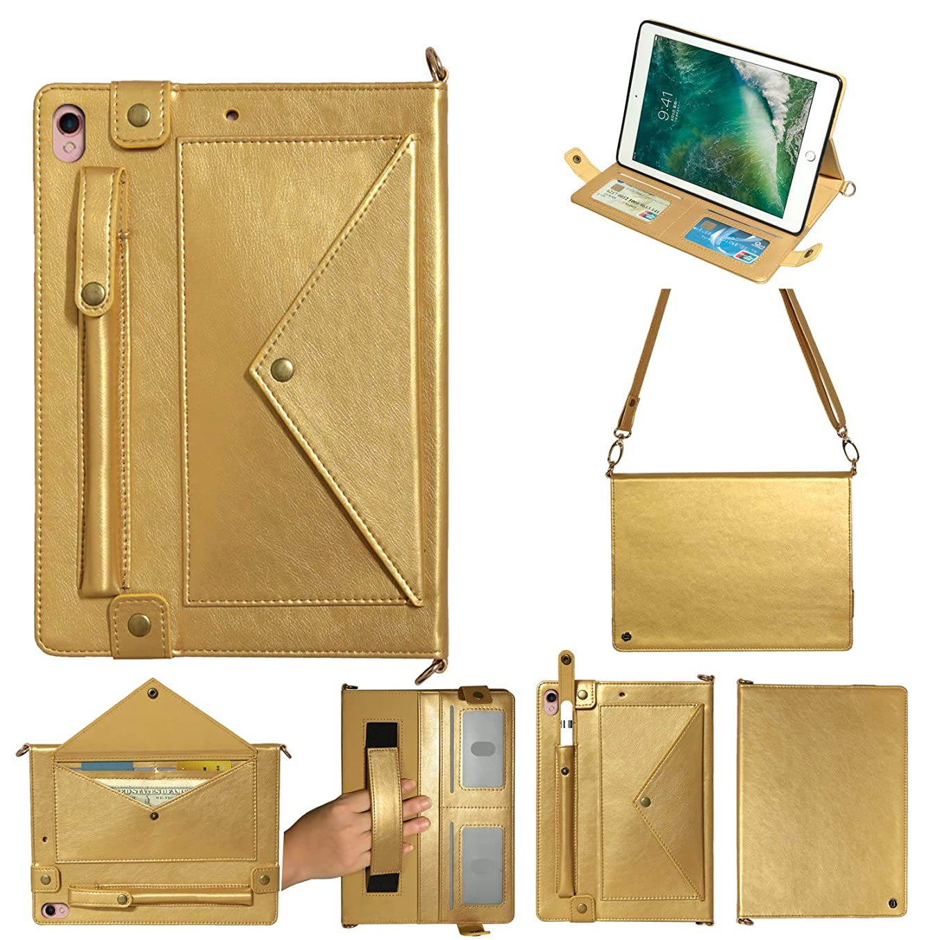 タック矢畝間iPad 11 Pro 2018ケース、TABCase PUレザーショルダーバッグ磁気ブラケット、カードスロット付き多機能フラットケース/ペンシルケース/財布ファイル分割ポケット付き手、に適しています iPad Pro 11 2018,ゴールド