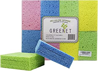 Cleaning Sponges Bulk Sponges, 24 Pack+ 2 Free Heavy Duty Scouring Pads, Sponges Bathroom Sponge Kitchen, Cleaning Sponge 100% Natural Cellulose for Kitchen Sponges 4.1 X 2.7 X 0.48 Inches by Greenet