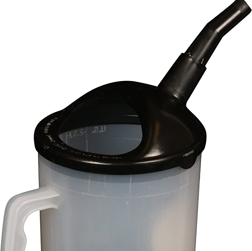 WirthCo 94026 Funnel King Heavy Duty Graduated Measuring Container With Black Spout 87 Oz Capacity