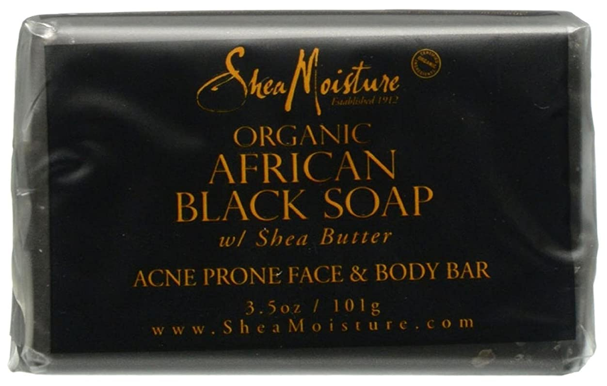 姿を消す助けて急行するShea Moisture バーソープ (Organic African Black Soap Acne Prone Face & Body)