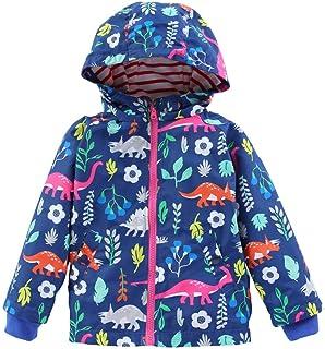 Kehen Little Boys & Girls Hooded Windproof Jacket Light Windbreaker Spring Autumn Dinosaur Cardigan Outwear Coat