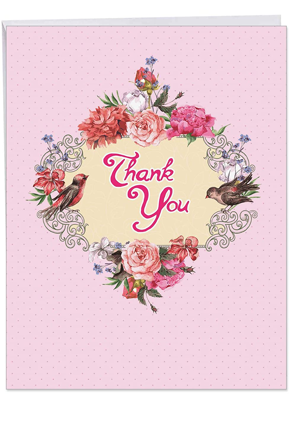 Birds and Blossoms' XL Thank You Card With Envelope 8.5 x 11 Inch Cards with Bright Floral Wreath and Cute Birds, Large Appreciation Greeting for Family, Friends and Women of All Ages J6577GTYG