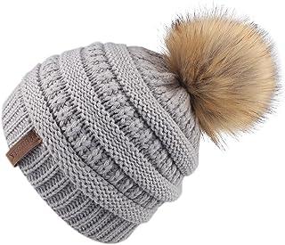 3e99dc09b12ca1 FURTALK Kids Girls Boys Winter Knit Beanie Hats Faux Fur Pom Pom Hat Bobble  Ski Cap